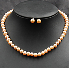 7-8mm Pink and Violet Color Pearl Necklace and Matched Studs Earrings Sets