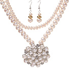 Fashion Natural White Freshwater Pearl Beaded Sets (Pearl And Rhinestone Pendant Necklace With Matched Earrings)