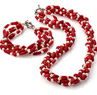 Fashion Multi Strands Twisted Natural White Freshwater Pearl And Red Coral Sets (Necklace With Matched Bracelet) under $ 40