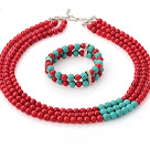 Wonderful Multi Strands Round Red Coral And Green Turquoise Sets (Necklace With Stretchy Bracelet)