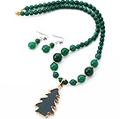 Fashion Round Green Agate Beaded Sets ( Golden Wired Wrap Agate Tree Pendant halskæde med matchede øreringe )