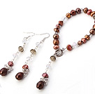 Fashion Multi Golden Brown Freshwater Pearl And Crystal Sets (Pendant Bracelet With Matched Earrings)
