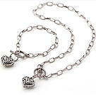 Fashion Acrylic CCB Silver Like Loop Chain With Heart Pendant Sets (Necklace With Matched Bracelet)
