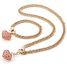 Fashion Golden Loop metalen ketting en Rose Gold Heart Pendant Sets (Ketting Met Matched Armband )