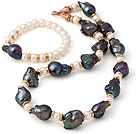 Fashion Black Nuclear Pearl And Natural White Abacus Freshwater Pearl Sets (Necklace With Matched Bracelet)