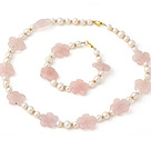 Fashion Natural White Freshwater Pearl And Rose Quartz Flower Necklace Bracelet Sets