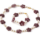 Nice Natural White Freshwater Pearl And Purple Jade Flower Sets (Necklace With Matched Bracelet)