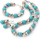 Popular Cluster Freshwater Pearl Crystal Chipped And Round Turquoise Sets (Necklace Bracelet With Matched Earrings)