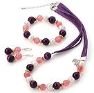 Fashion White Freshwater Pearl And Round Faceted Purple Agate Cherry Qaurtz Sets (Necklace Bracelet With Matched Earrings)