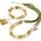 Fashion White Freshwater Pearl Round Yellow And South Korea Jade Sets (Necklace Bracelet With Matched Earrings)