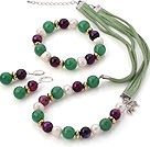 Fashion White Freshwater Pearl Round Faceted Aventurine And Purple Agate Sets (Necklace Bracelet With Matched Earrings)