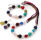 Fashion White Freshwater Pearl And Multi Round Gemstone Sets (Necklace Bracelet With Matched Earrings)