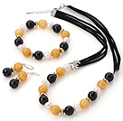 Fashion White Freshwater Pearl Round Yellow Jade And Faceted Black Agate Sets (Necklace Bracelet With Matched Earrings)