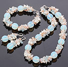 Fashion Freshwater Pearl Crystal Aquamarine And Opal Gemstone Sets (Necklace Bracelet With Matched Earrings)