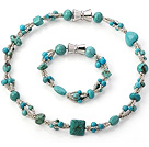 Fashion Multi Strands Random Shapes Blue And Green Turquoise Jewelry Sets (Necklace With Matched Bracelet)