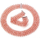 Popular Multi Strands Handmade Pink Crystal Sets (Netted Necklace With Matched Bracelet)