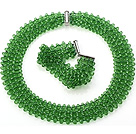 Popular Multi Strands Handmade Apple Green Crystal Sets (Netted Necklace With Matched Bracelet)