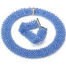 Popolare Multi Strands Handmade Azzurro insiemi di cristallo ( Netted collana con abbinato il braccialetto )