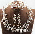 Fancy Style White Freshwater Pearl Wedding Bridal Set ( Necklace Bracelet and Earrings )