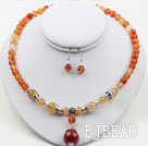 Natural Color Agate Set (Necklace and Matched Earrings )