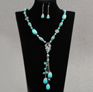 Assorted Turquoise Set ( Y Shape Turquoise and Matched Earrings )