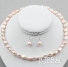 8-9mm Light Purple Baroque Pearl Set ( Necklace and Matched Earrings )