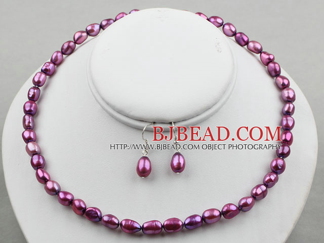 8-9mm Dark Purple Baroque Pearl Set ( Necklace and Matched Earrings )