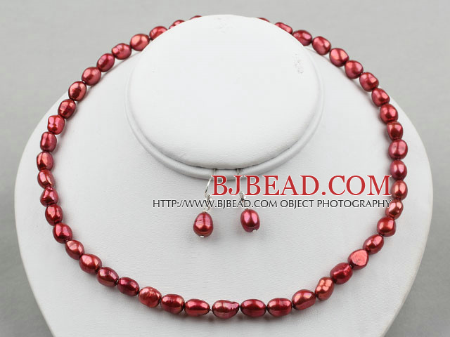 8-9mm Red Wine Color Baroque Pearl Set ( Necklace and Matched Earrings )