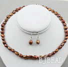 8-9mm Brown Color Baroque Pearl Set ( Necklace and Matched Earrings )