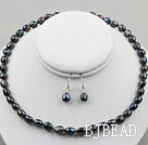 8-9mm Black Baroque Pearl Set ( Necklace and Matched Earrings )