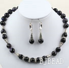 Classic Design 12mm Round Faceted Bluesand Stone Set ( Necklace and Matched Earrings )