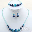 Simple Style Round Blue Agate Set ( Necklace Bracelet and Matched Earrings )