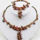 Brown Series Brown Freshwater Pearl Crystal Set ( Necklace and Matched Bracelet )