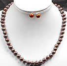 Vintage Style Tiger Eye and Shell Set ( Necklace with Matched Earrings )