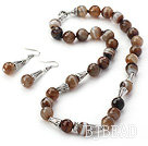 Brazil Stripe Faceted Agate Set ( Necklace and Matched Earrings )