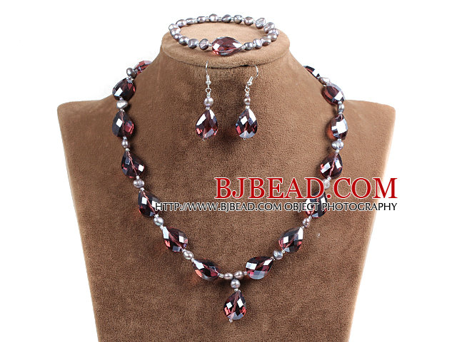 Sparkly Tear Drop Shape Red Brown Crystal Natural Freshwater Pearl Jewelry Set with Rhinstone Magnetic Clasp (Necklace, Bracelet & Earrings)