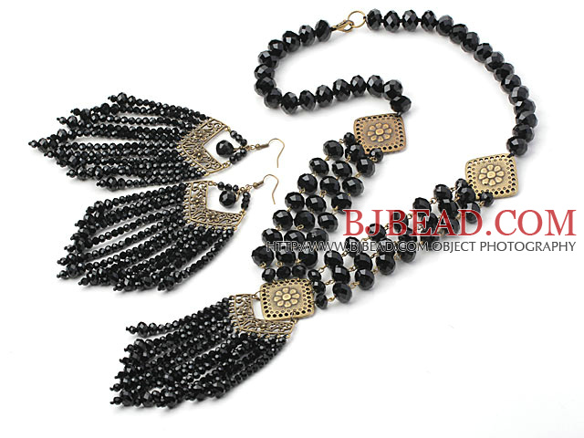 Vintage Style Black Crystal Tassel Set ( Necklace and Matched Earrings )