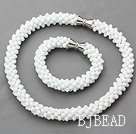 White Series White Jade Tube Shape Woven Set ( Necklace and Matched Bracelet)