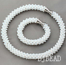 White Series White Opal Crystal Tube Shape Woven Set ( Necklace and Matched Bracelet)