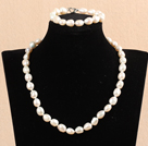 Fashion Mother Gift 9-10mm Natural White Baroque Pearl Jewelry Set With Heart Clasp(Necklace & Bracelet)