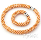 Light Orange Series Orange Jade Tube Shape Woven Set ( Necklace and Matched Bracelet)