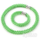 Light Green Series Green Jade Tube Shape Woven Set ( Necklace and Matched Bracelet)