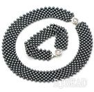 Wide Style Black Tungsten Steel Stone Set ( Necklace and Matched Bracelet )
