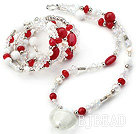 White and Red Series Clear Crystal and Red Candy Jade and White Porcelain Stone Set