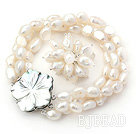 8-9mm White Baroque Freshwater Pearl Set with Shell Flower Clasp ( Strands Bracelet and Ring)