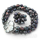 8-9mm Black Baroque Freshwater Pearl Set with Shell Flower Clasp ( Strands Bracelet and Ring)