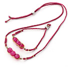 Rose Pink Series Wire Wrapped Rose Pink Agate Pea Pendant Set with Leather ( Necklace and Matched Bracelet)