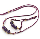 Purple Series Wire Wrapped Amethyst Pea Pendant Set with Purple Leather ( Necklace and Matched Bracelet)