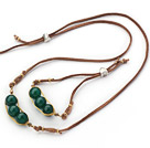 Green Series Wire Wrapped Dark Green Agate Pea Pendant Set with Brown Leather ( Necklace and Matched Bracelet)