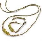 Yellow Green Series Wire Wrapped South Koread Jade Pea Pendant Set with Green Leather ( Necklace and Matched Bracelet)